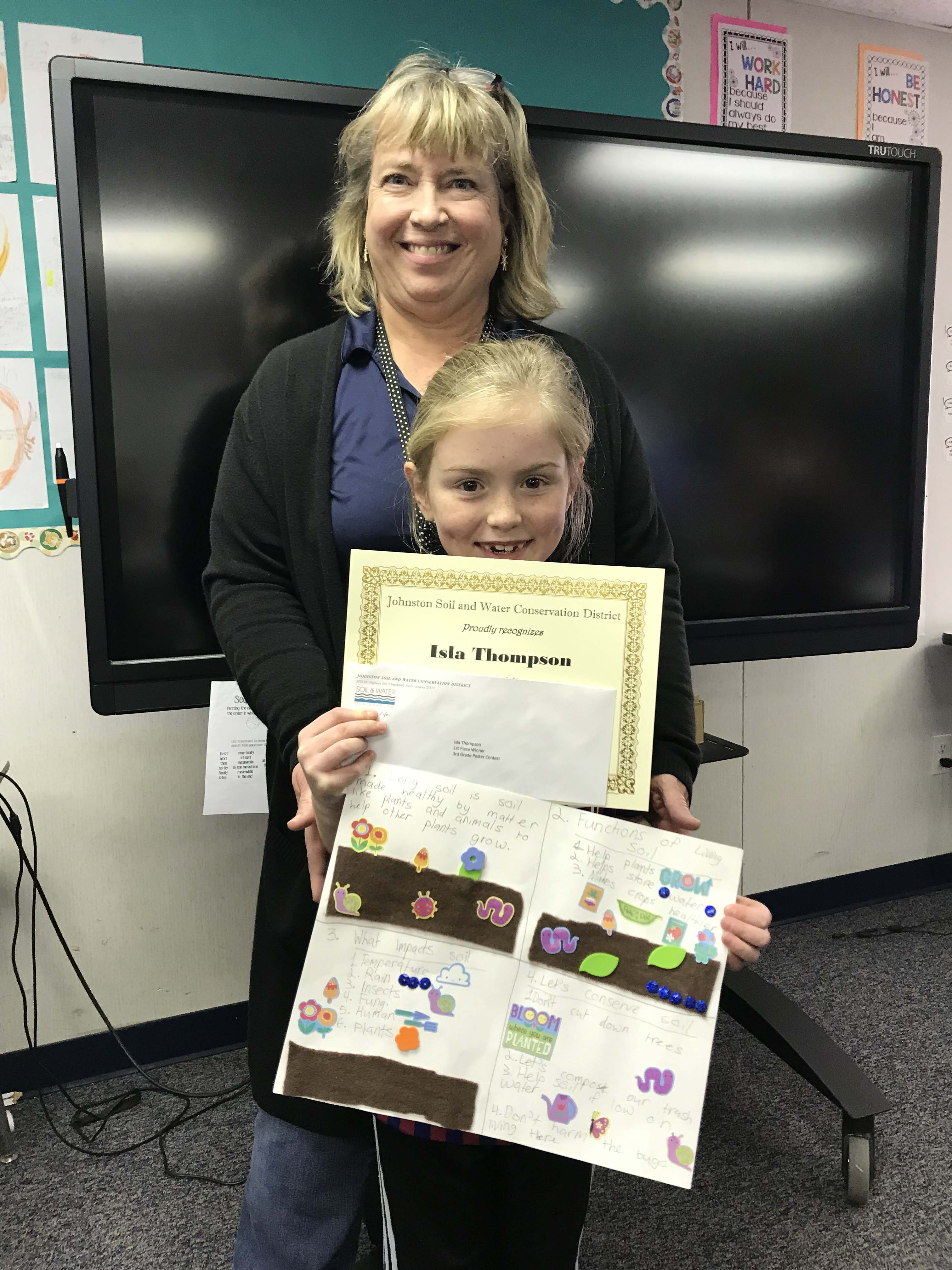 2018 / 2019 1st place Poster Contest Winner Isla (Eye-La) Thompson 3rd grade student at River Dell Elementary and her teacher, Ms. Warren