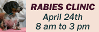 2021 Rabies Clinic on April 24th from 8:00 a.m. to 3:00 p.m. at Animal Shelter